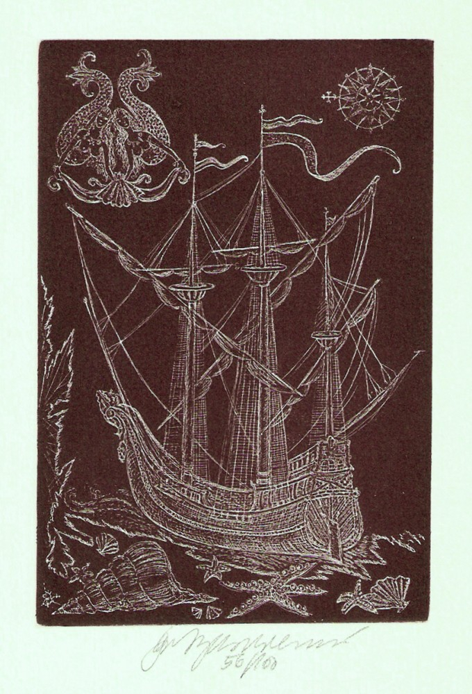 Vychodilová Olga - Sailing Ship with Mermaids - Print