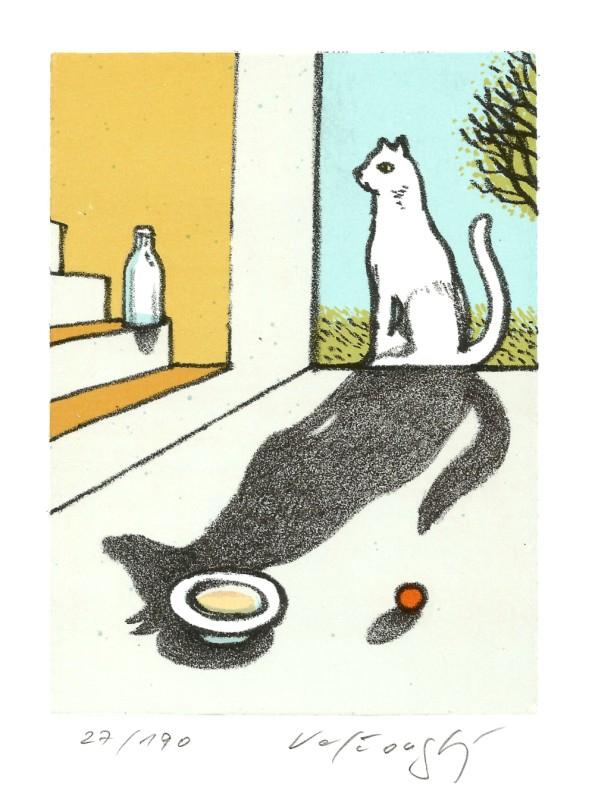 Velčovský Josef - Bílá kočka, černý pes - Grafika