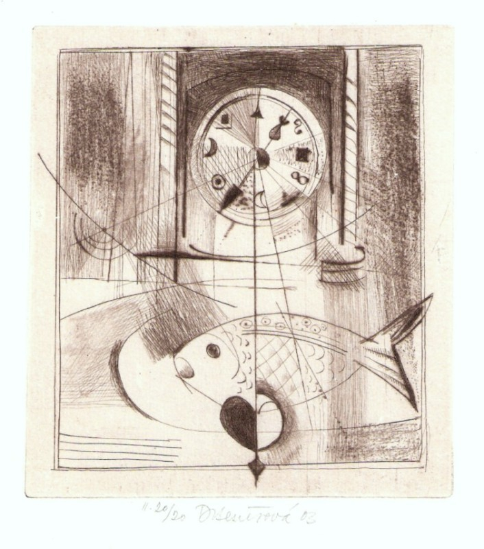 Benešová Daniela - Still Life with Clock - Print