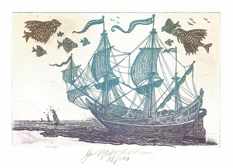Vychodilová Olga - Sailing Ship with Flying Fish - Print