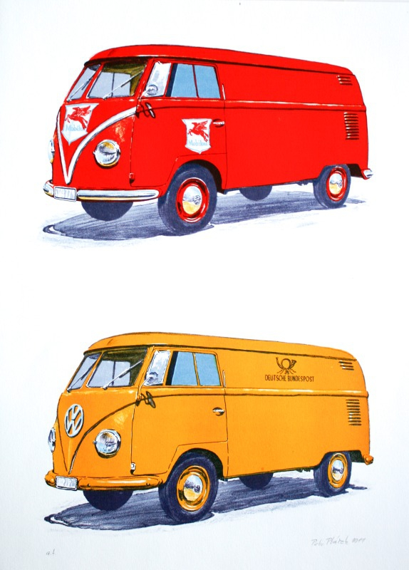 Ptáček Petr - Volkswagen T1 - Mobilgas a Deutsche Bundespost - Grafika