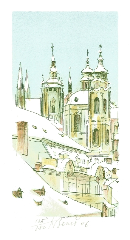 Beneš Karel - Praha – Svatý Vít a Svatý Mikuláš  - Print