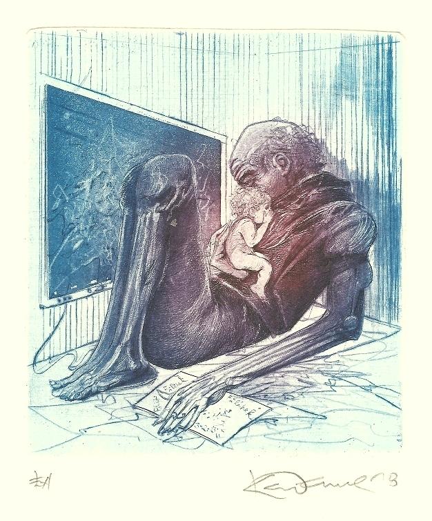Demel Karel - Dědeček s vnukem  - Grafika