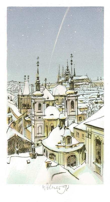 Beneš Karel - Pražské střechy  - Print
