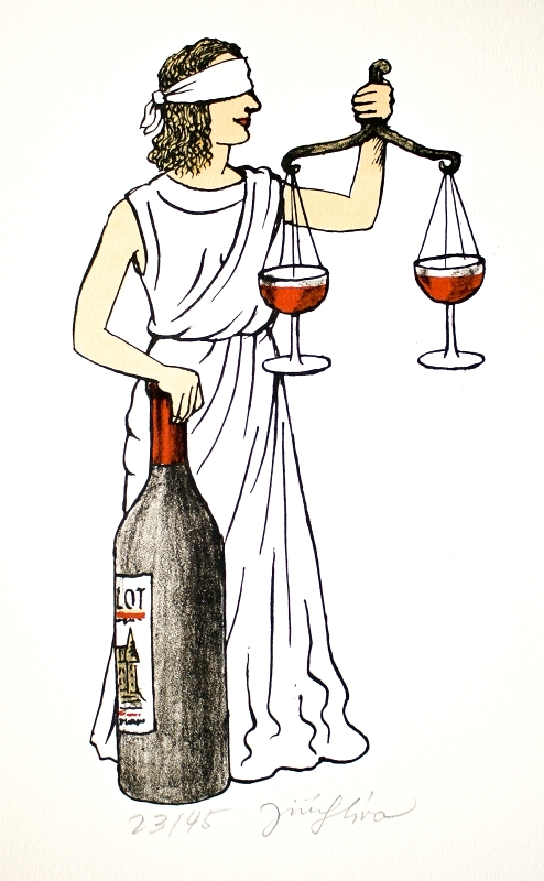 Slíva Jiří - Justice s vínem  - Grafika