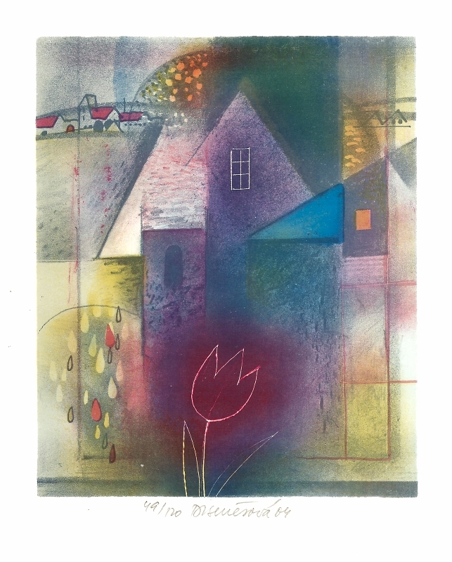 Benešová Daniela - Okno s černým tulipánem  - Print