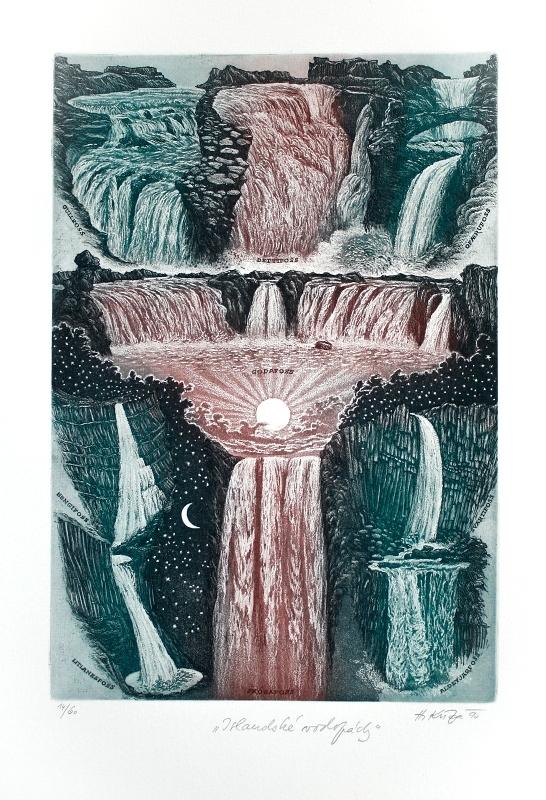 Kisza Herbert - Islandské vodopády  - Print