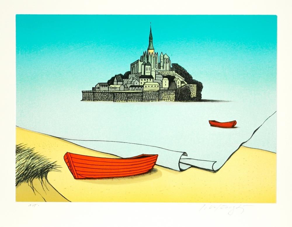 Velčovský Josef - Příliv u Mont St. Michel  - Grafika