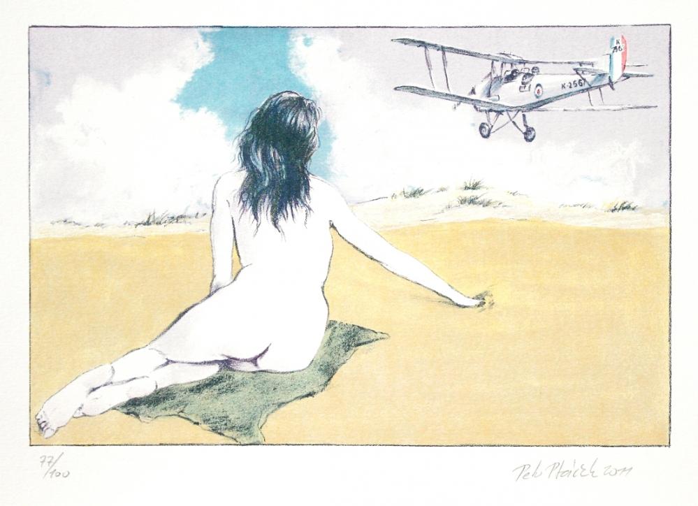Ptáček Petr - Dívka a letadlo  - Print