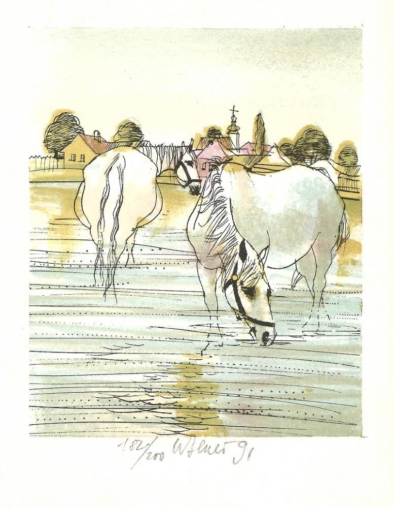 Beneš Karel - Plavení koní  - Grafika