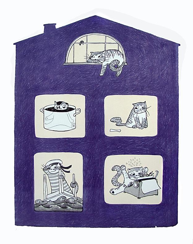 Jelenová Petra - Dům plný koček č.p. 2 - Grafika