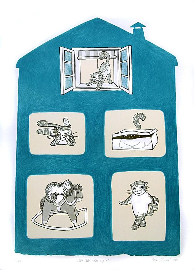 Jelenová Petra - Dům plný koček č.p. 1 - Grafika