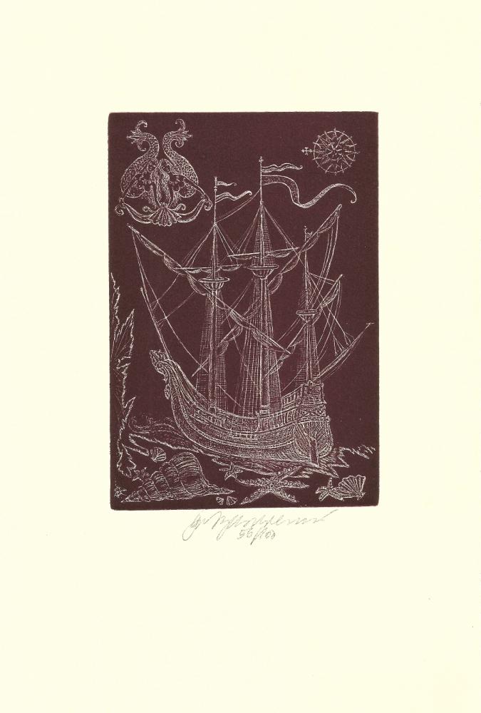 Vychodilová Olga - Loď s mořskými pannami, z cyklu Moře - Grafika
